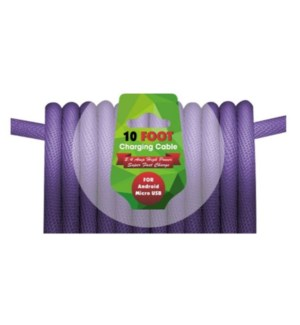 10ft charging cable for Android Micro USB - Violet