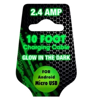 10ft Cable Glow in the Dark - Micro USB