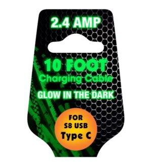 10ft Cable Glow in the Dark - Type C