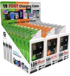10ft Boxed Charging Cables in 24pc PDQ - 8 of each cable