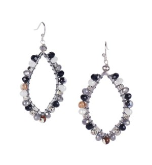 Coco + Carmen Alocasia Drop Earrings - Black and White and Gray