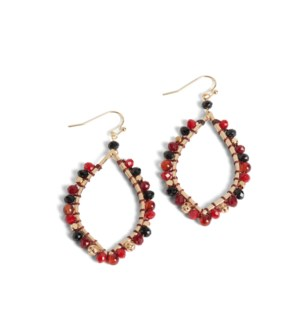 Coco + Carmen Alocasia Drop Earrings - Black and Red and Gold