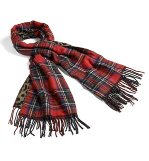 Coco + Carmen About Face Reversible Oblong Scarf - Tartan Red