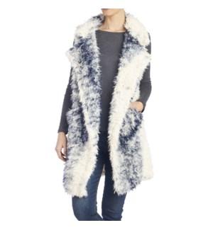 Coco + Carmen Accalia Faux Fur Vest - Blue Stripe - L/XL