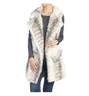 Coco + Carmen Accalia Faux Fur Vest - Grey Stripe - S/M