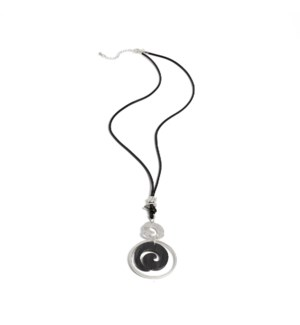 Coco + Carmen Brooklyn Swirl Pendant Necklace Black