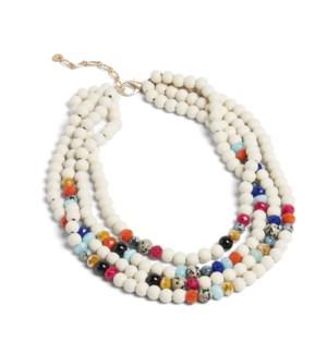 Coco + Carmen Aurora Bead Multi Layer Necklace White