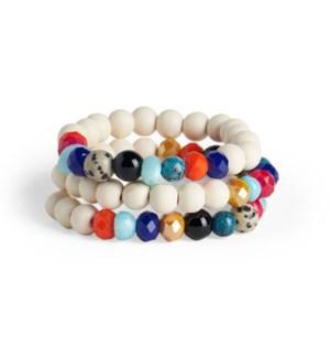 Coco + Carmen Aurora Bead Stretch Bracelet Set White