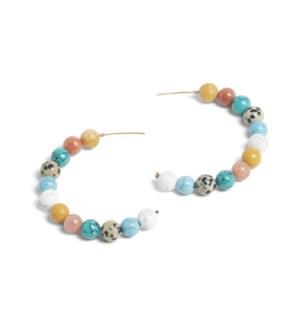 Coco + Carmen Bailey Beaded Hoop Earrings Multi and Turquoise