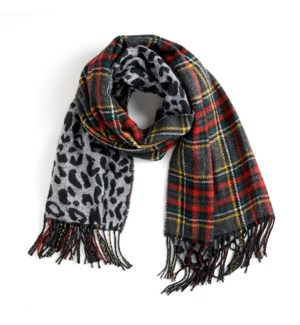 Coco + Carmen About Face Reversible Oblong Scarf Black Red Plaid and Grey Leopard
