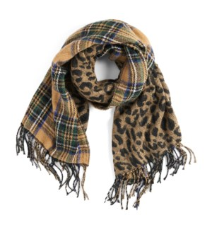 Coco + Carmen About Face Reversible Oblong Scarf Tan Blue Plaid and  Taupe Leopard