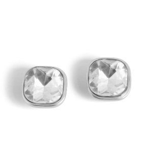 Coco + Carmen Bling Pop Earrings Silver and Clear