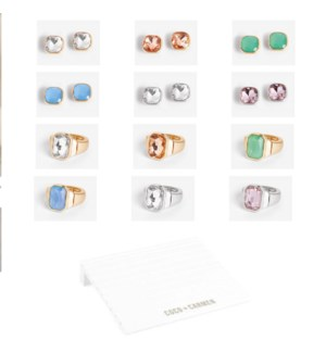Coco + Carmen Bling Pop Ring + Post Earring Assortment Pack with Display - Pack and Display