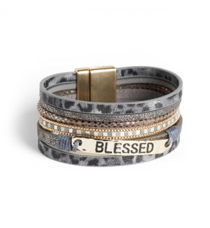Coco + Carmen Blessed Layered Magnetic Bracelet Grey Animal