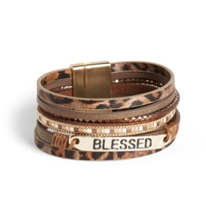 Coco + Carmen Blessed Layered Magnetic Bracelet Brown Animal