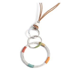 Coco + Carmen 3 Ring Color Thread Necklace Brown