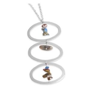Coco + Carmen Balancing Rocks Necklace Silver