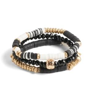 Coco + Carmen Bundled Heishi Bead Bracelet Black and White
