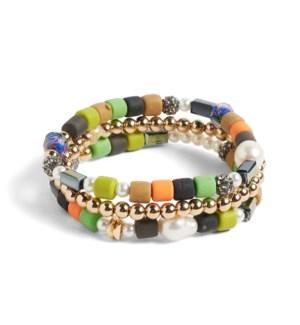 Coco + Carmen Bundled Heishi Bead Bracelet Gold and Multi