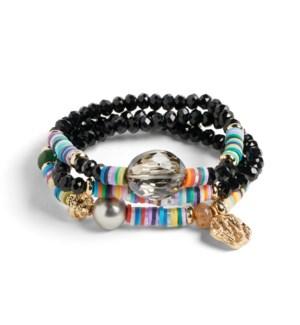 Coco + Carmen Bundled Heishi Bead Bracelet Black and Multi