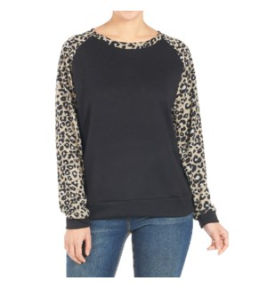 Coco + Carmen Addie Sweatshirt Black and Animal XXL