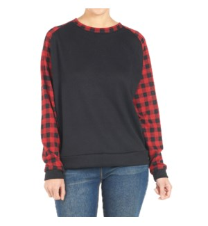 Coco + Carmen Addie Sweatshirt Black and Red Buffalo L/XL