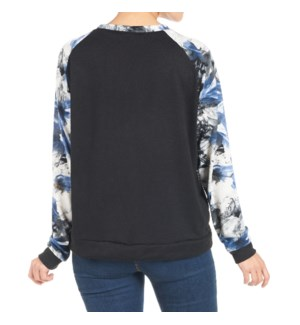 Coco + Carmen Addie Sweatshirt Black and Blue Floral S/M