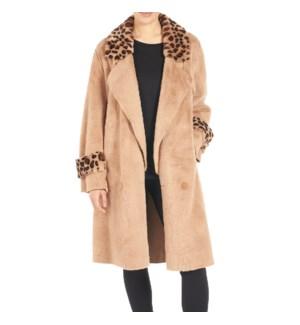Coco + Carmen Akela Faux Fur Trim Coat - Tan Animal - S/M