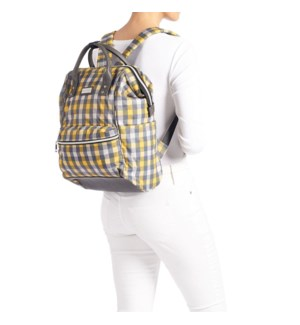 Coco + Carmen Ava Backpack - Grey and Yellow Check