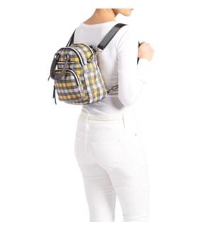 Coco + Carmen Ava Mini Travel Backpack - Grey and Yellow Check