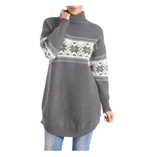 Coco + Carmen Andri Mock Neck Sweater - Grey and Cream - S/M