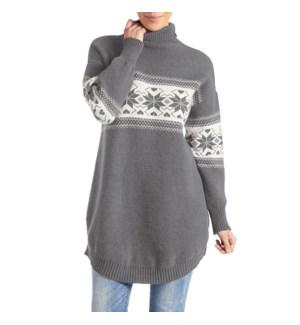 Coco + Carmen Andri Mock Neck Sweater - Grey and Cream - L/XL