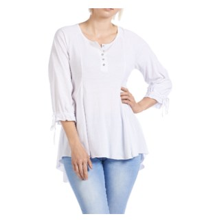 Coco + Carmen Aimee Pleat Front Henley Top - White - S/M