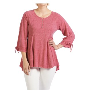 Coco + Carmen Aimee Pleat Front Henley Top - Bright Rose - S/M