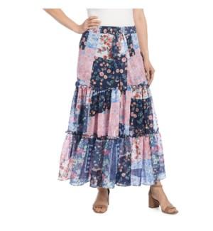 Coco + Carmen Alecia Multi Print Maxi Skirt - Patchwork Pink - S/M