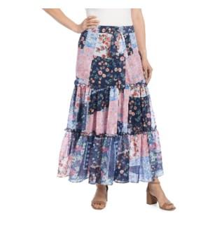 Coco + Carmen Alecia Multi Print Maxi Skirt - Patchwork Pink - L/XL