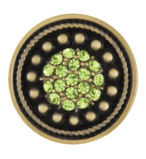 Ginger Snaps Antique Brass and Peridot Sunburst