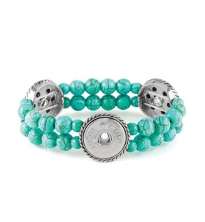 Ginger Snaps 3-Snap Stretch Turquoise Bracelet