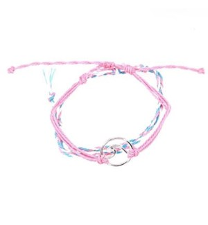 2 Strand Pink Bracelets (1 is Braided, 2 is solid w/ Wave)  / UPC= 684500076828