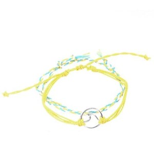 2 Strand Yellow Bracelets (1 is Braided, 2 is solid w/ Wave)