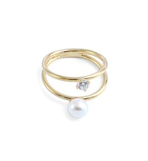 2 Gold RINGs together W/ Pearl & CZ / UPC= 684500076668