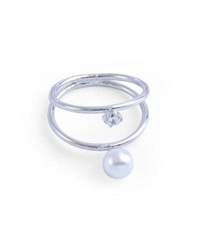 2 Silver RINGs together W/ Pearl & CZ / UPC= 684500076675