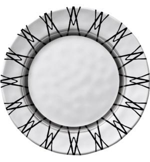 Black & White Round 8 in. Salad Plate Light Rim