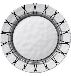 Black & White Round 11 in. Dinner Plate Light Rim