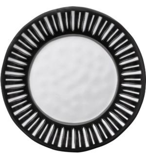 Black & White Round 8 in. Salad Plate Dark Rim