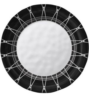 Black & White Round 11 in. Dinner Plate Dark Rim