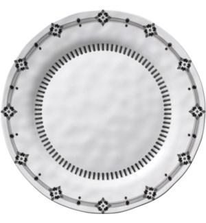 Black & White Round 8 in. Salad Plate Diamond Rim