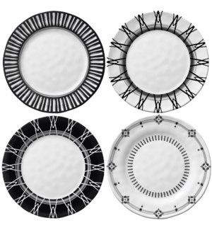 Black & White 6 in. Appetizer Plates - Set of 4