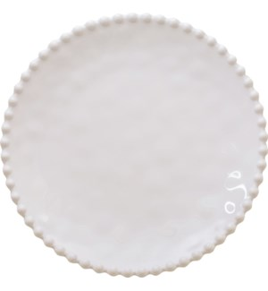 Beaded Pearl  14 in. Round Serving Tray Cream