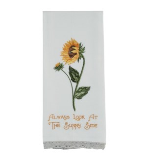 ALWAYS LOOK AT THE SUNNY SIDE EMBROIDERED DISHTOWEL